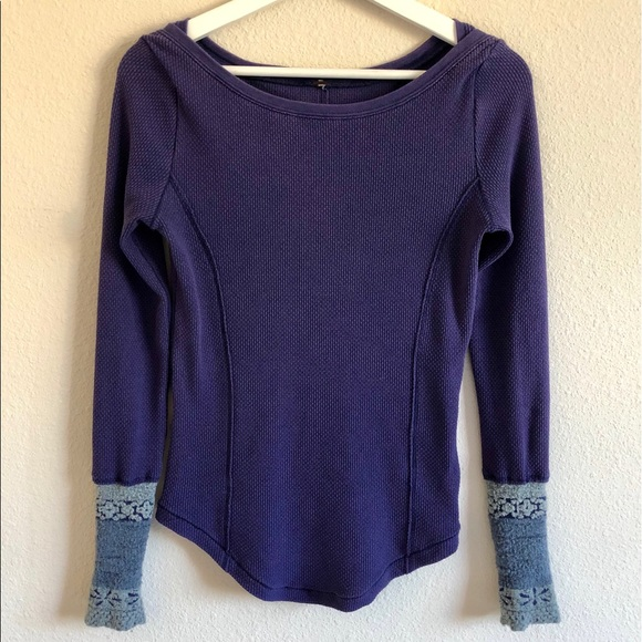 Free People Tops - Free People Textured Thermal Long Sleeve Shirt